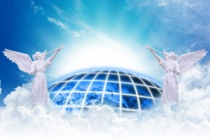 14396420 - angels heaven and earth background
