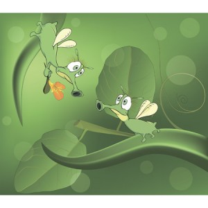 31944469 - green glowworms and love cartoon