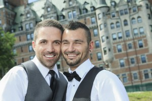 36917889 - portrait of a loving gay male couple on their wedding day.