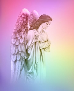 29670550 - angel on graduated rainbow colored background