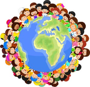 35858840 - multicultural children cartoon on planet earth