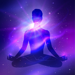 38329445 - outer space and male silhouette. meditation concept.